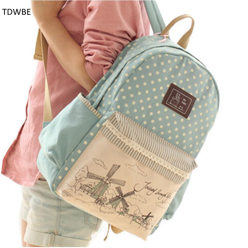 New 2015 casual canvas backpack women fashion school bags for girls fresh printing backpack shoulder bags mochila new woman shoulder bags cute canvas women big bags literature and art cartoon girls small fresh bags casual tote