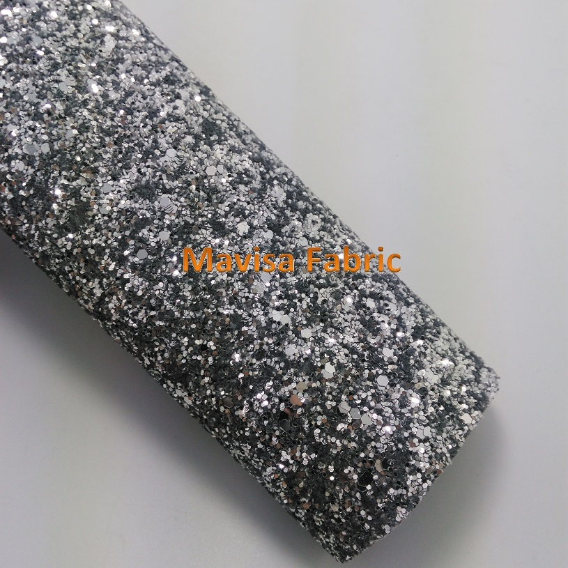 MQ002 30X134cm SILVER Chunky Glitter Leather, Glitter Fabric for making bows shoes handbags and wallpaper Party Decoration