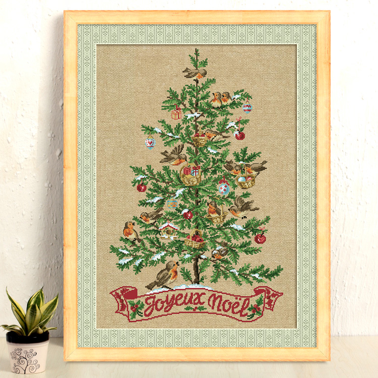 The Christmas tree with birds cross stitch kit 14ct 11ct count linen flaxen canvas stitching embroidery DIY handmade needlework