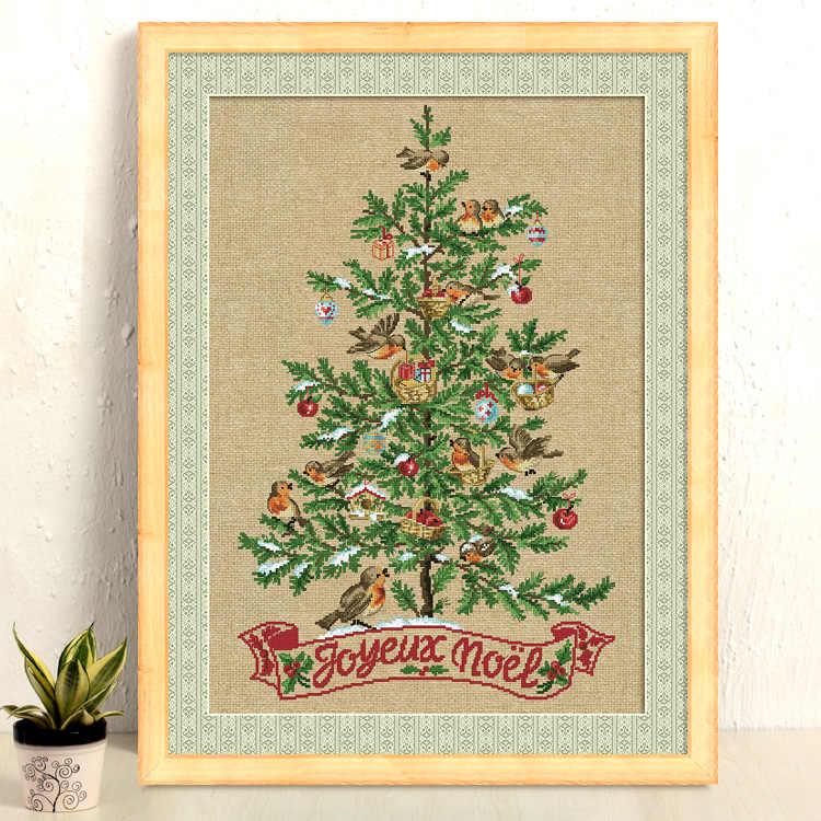 De Kerstboom Met Vogels Kruissteek Kit Katoen Zijde Draad 18ct 14ct 11ct Linnen Vlassen Canvas Stiksels Borduurwerk Diy