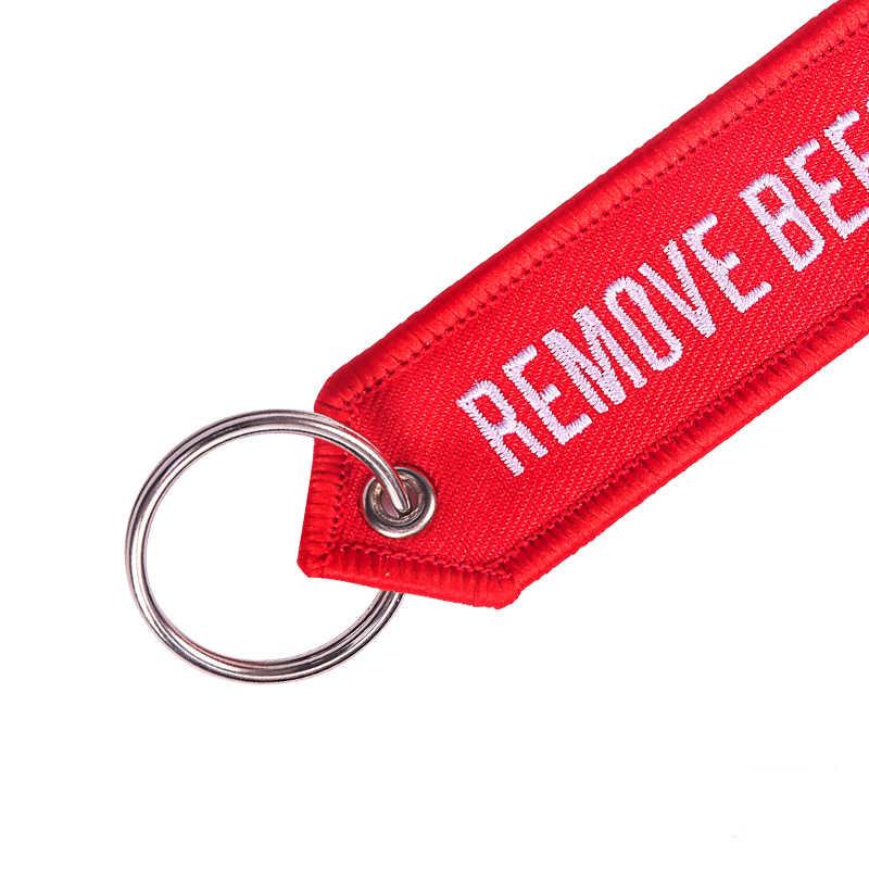 Помпоном 5 шт./лот remove Before Flight, брелки для ключей для авиации подарки OEM брелок для ключей с вышивкой цепи, логотипы марок машин, брелок для ключей, автомобильные аксессуары, брелок для автомобиля Chaveiro ювелирные изделия