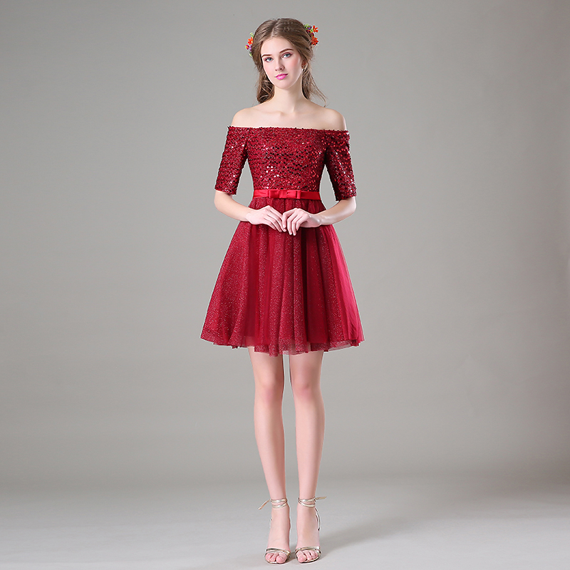 Burgundy Junior Formal Short Prom Dresses With Sleeves Cheap