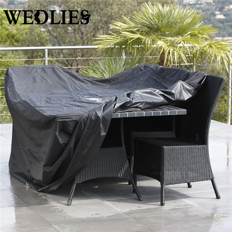 Outdoor Patio Waterproof Furniture Cover Folding Dust Rectangular Table Chairs Cloth Protective Black 213x132x74cm