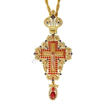 jeweled and enameled pectoral cross chain Jesus crucifix pendants Christian Clergy Pendant Priest Episcopal Orthodox icon