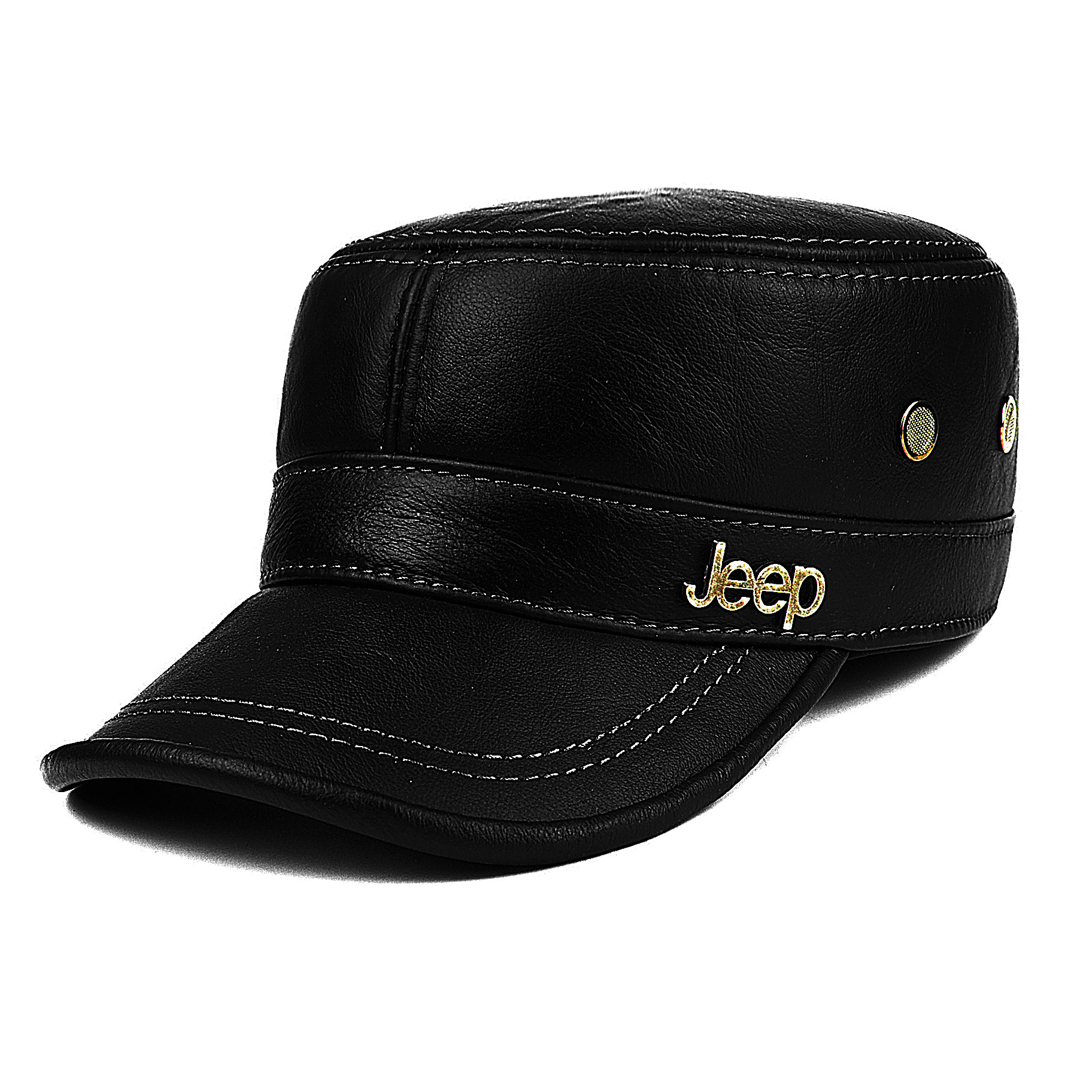 Image 4 - Men's Genuine Leather Hat Adult New Cowhide Hat Male Outdoor Warm Flat Leather Hat Winter Casual Leather Cap Adjustable B 8386-in Men's Baseball Caps from Apparel Accessories