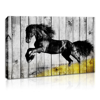 Canvas Wall Art Animal Painting Running Horse Print Poster Abstract Flower Picture Wood Grain Framed Artwork for Home Decorative