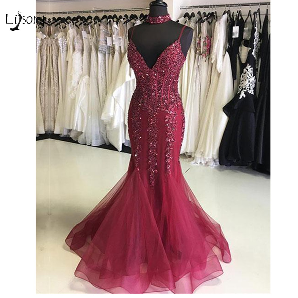Luxury Burgundy Crystal Mermaid Prom Dresses 2019 Long Sexy Beaded Evening Gowns Plus Size Lace Up Prom Gowns Custom Made Abiye