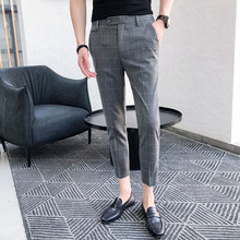 New Mens Dress Plaid Trousers Social Business Casual Slim Fashion Classic Retro Suit Pants British Wind Office