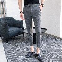 New Men's Dress Plaid Trousers Social Business Casual Slim Fashion Classic Retro Plaid Suit Pants British Wind Office Pants