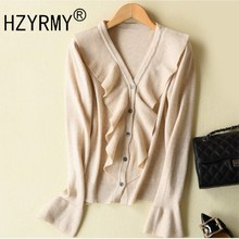 HZYRMY Spring Autumn New Womens Cashmere Cardigan V-Neck Fashion Pure Color High Quality Soft Shirt Wool Short Sweater Jacket