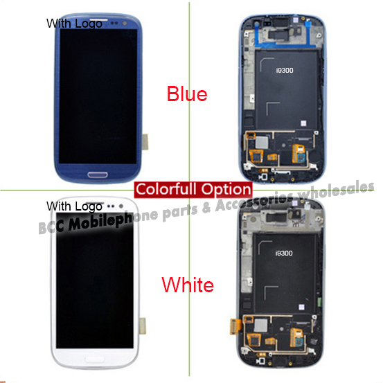 In Stock!!For Samsung S3 i9300 LCD Display Digitizer Touch Screen Glass+Frame Assembly White/Blue 100% original Test ok+Track