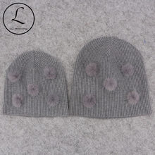 8a919a54fac Cute Soft Wool Real Mink Fur pompom Beanies hats For Baby Boys Girls Kids  Autumn Winter Ribbed Knitted Skullies Hats For Newborn