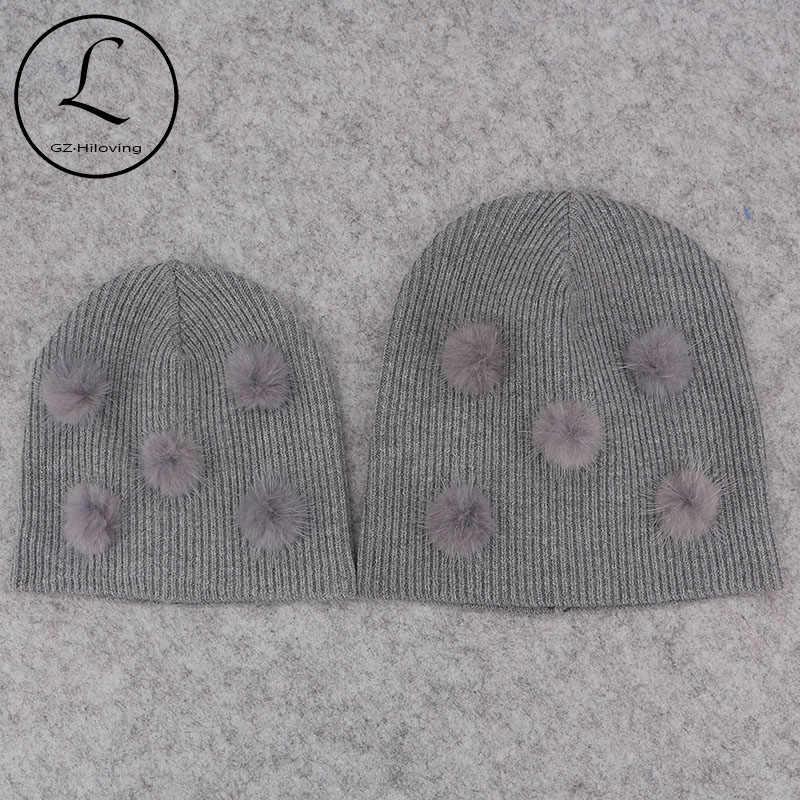 น่ารักนุ่มขนสัตว์ Mink จริงขน pompom Beanies หมวกสำหรับหมวกเด็กทารกเด็กหญิงเด็กฤดูใบไม้ร่วงฤดูหนาว Ribbed ถัก Skullies หมวกสำหรับทารกแรกเกิด