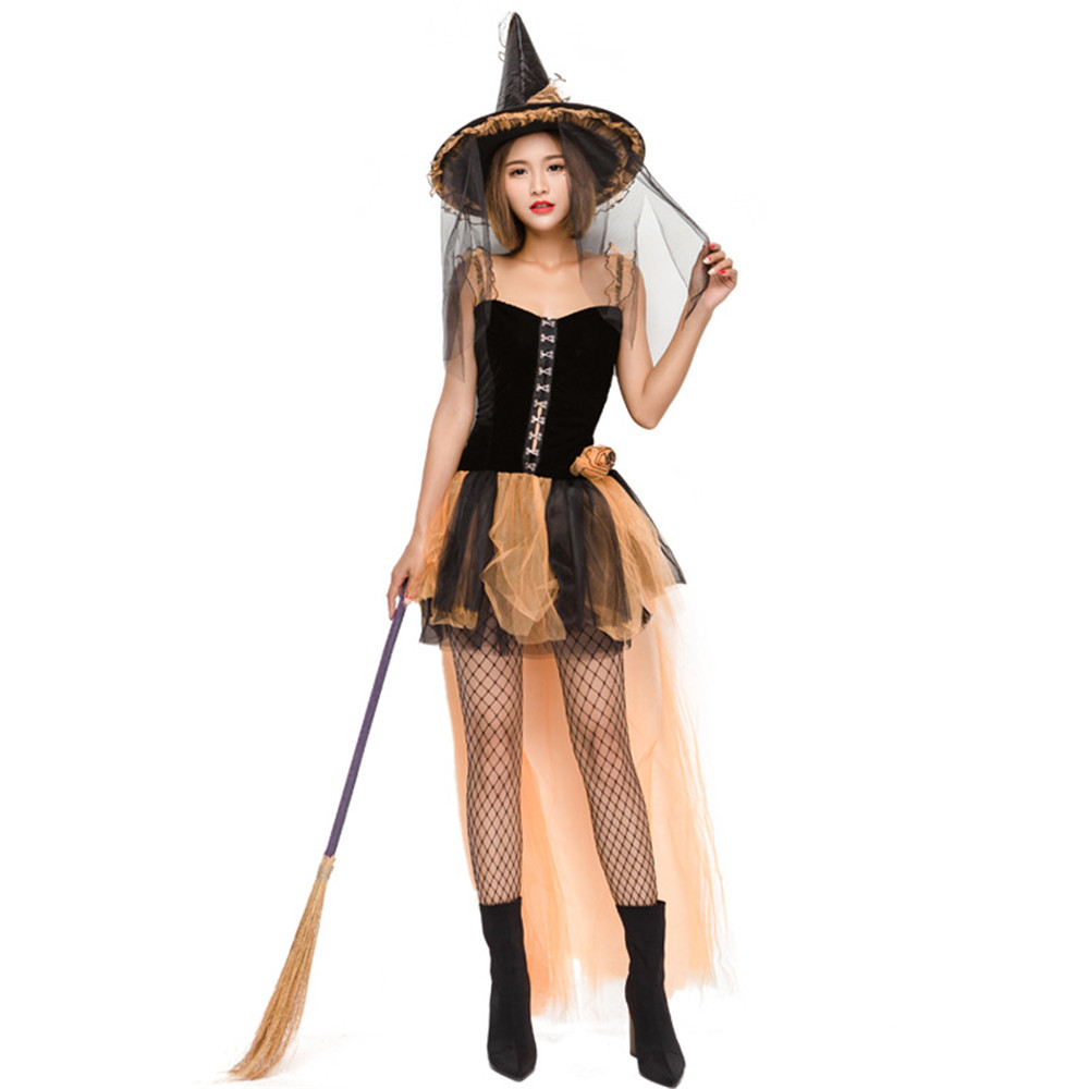 Halloween purim witch mesh cosplay costume Yellow sexy witch game devil fluffy dress female for women fancy dress party full set