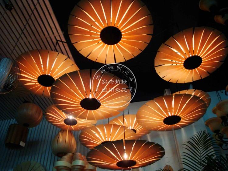 Fashion Led Handmade Veneer Pendant Light Bamboo Living Room Lights Restaurant Lamp modern chinese style bamboo pendant lamp living room lights restaurant hanglamp industrieel wooden veneer dining room lights