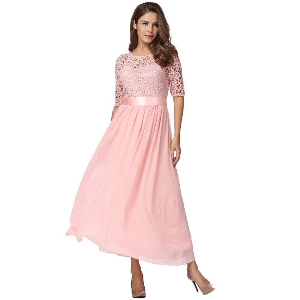 a353ff5f2 5XL Mulheres Plus Size Vestido de Renda Meia Manga Chiffon Maxi Longo  Vestido de Princesa Elegante vestido de Festa À Noite Longo Vestido 2019  Robe femme