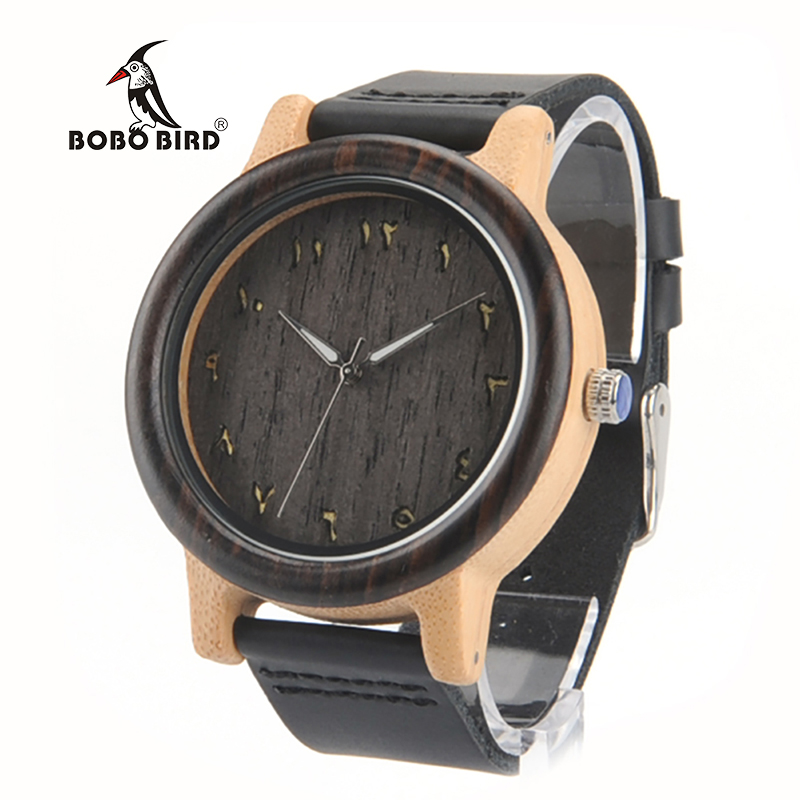 2017 BOBO BIRD Watch Handmade Wood Watches Leather Strap Fashion Band Men Wristwatches relogio masculino C-N16