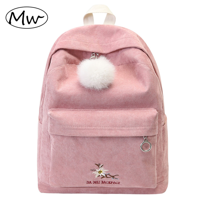 Moon Wood Preppy Style Hairball Embroidery Flowers Corduroy Backpack Large Capacity Students Girls Book Bag Laptop Backpack 2018
