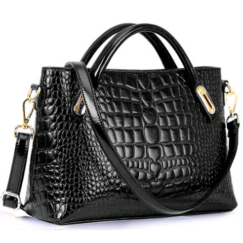 Women Leather Handbags Crocodile Statchels Small Tote Hand Bag Cross Body Should