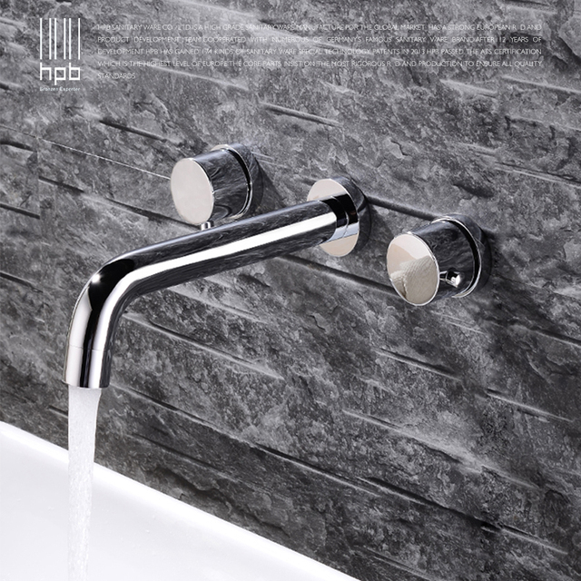 Hpb New Arrival Contemporary Bathroom Basin Faucet Wall Mounted Hot And Cold Dual Handle Sink Mixer