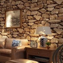 Beibehang 3d Stereo Brick Wallpaper Rock Fake Striped Restaurant Hot Pot Hotel Living Room Background wall roll