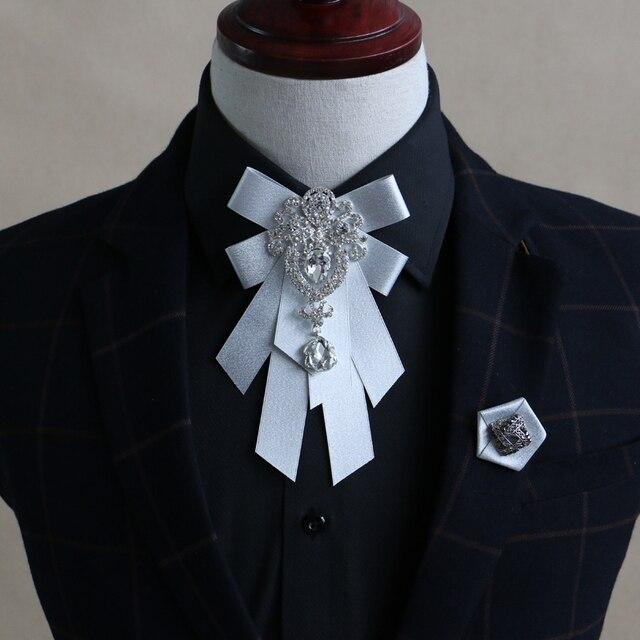 b8e3dbaf3547 Men dress wedding Korean ribbon tie groom wedding diamond collar men of  England