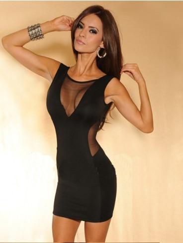 Women Sexy Party Dress Cutout Racerback Gauze Patchwork Slim Hip