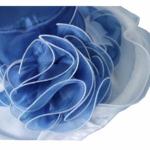 Image 5 - Women Derby Hat Luxury Ruffle Brim Floral Aside Patchwork Organza Wide Brim Hat Lady Spring Summer Sun Church Party Wedding Hat