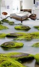 Custom Photo 3d Wallpaper Flowing Water, River, Moss Living Room Bedroom 3D Floor Interior Mural Wallpaper цена 2017