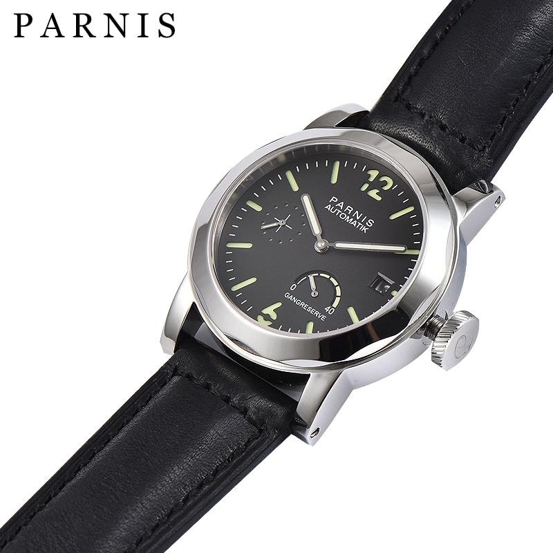 43mm Parnis SeaGull Czarny zegarek automatyczny Power Reserve / GMT - Męskie zegarki - Zdjęcie 4