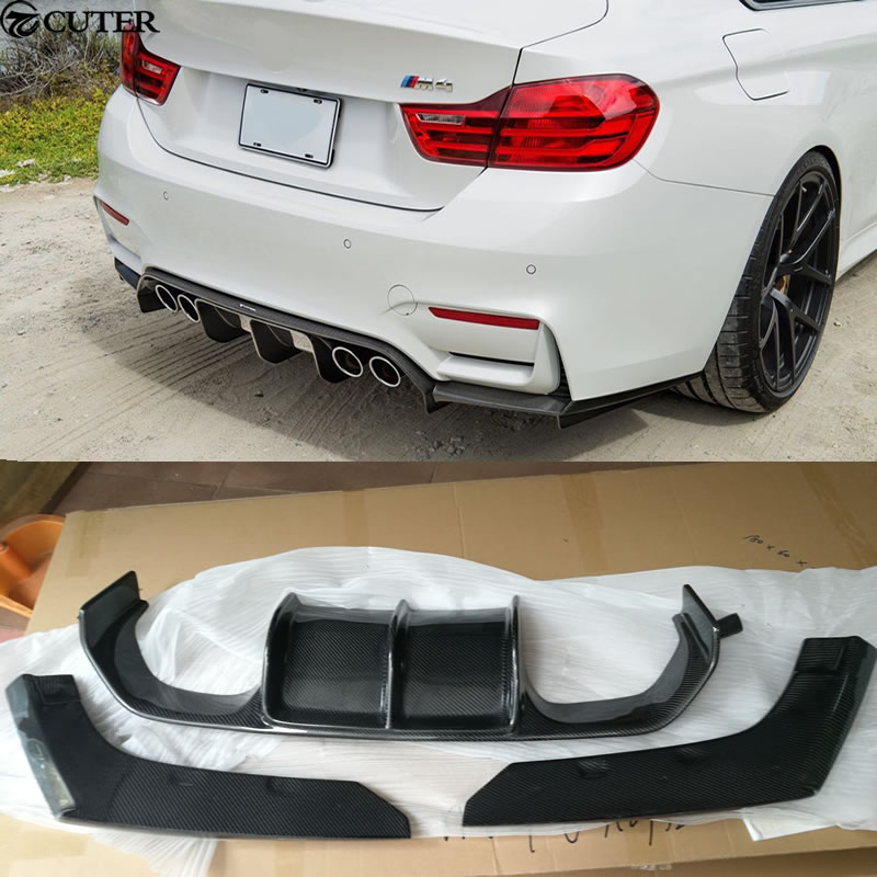 3PCS/SET F80 M3 F82 M4 V Styling Carbon Fiber Rear Bumper Lip Diffuser For BMW Car body kit 2014UP