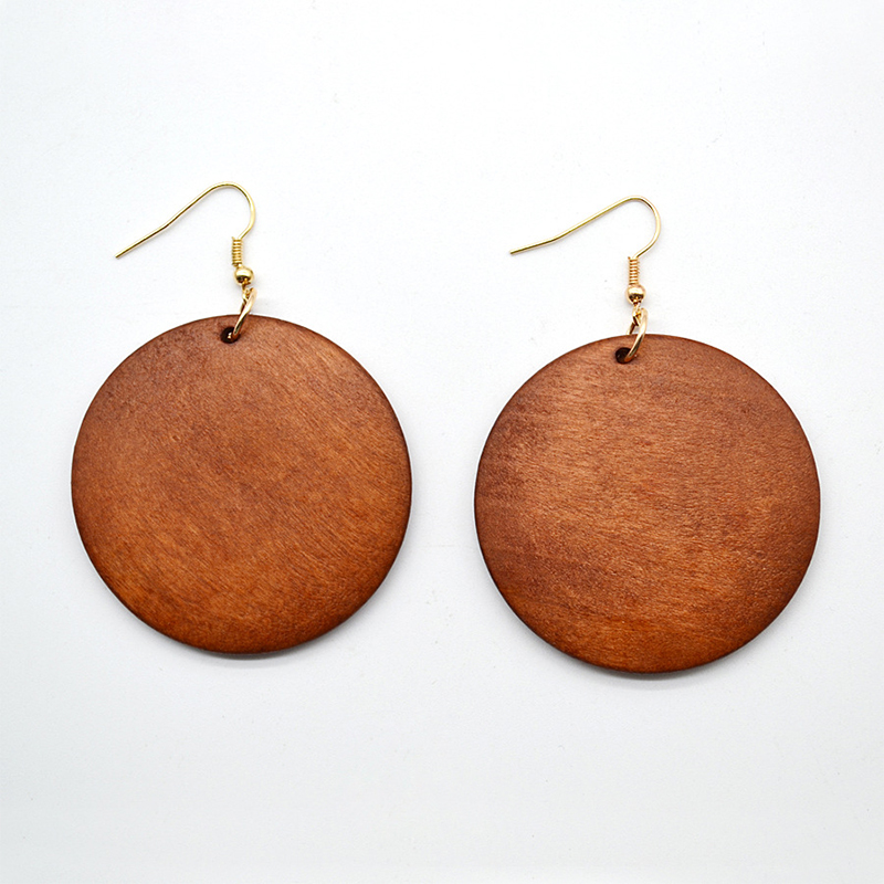 YULUCH New Personality New Design Big Handmade Natural African Wood Earrings for Women Jewelry 6 Colors Girl Gifts
