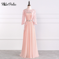 Elegant O neck A line Floor Length Chiffon Mother Of The Bride Dresses With Lace 3/4 Sleeves Plus Size