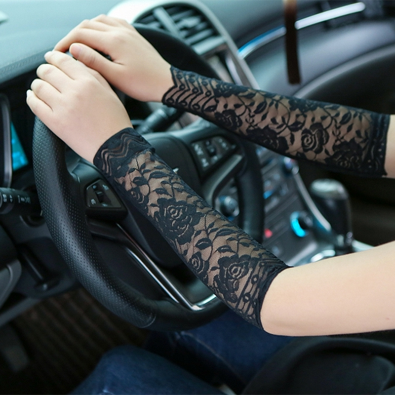 Zebery 30Cm Ladies Lace Arm Sleeve Sunscreen UV Breathable Bracers Thin Wrist Cover Section Woman Concealer Arm Sleeve