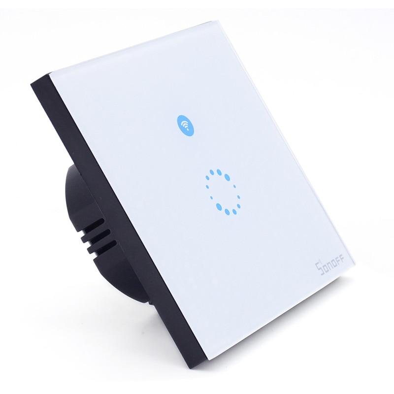 imágenes para Itead Sonoff Touch Panel Táctil de Cristal de Lujo LLEVÓ La Luz de Pared Interruptor de Control Remoto Casa Inteligente Wifi Interruptor De Una Manera 1 gang