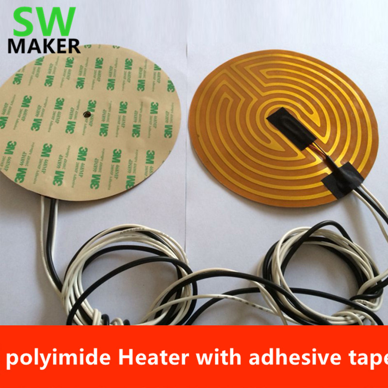 SWMAKER 12 v/24V 160/180/190/220/240/260/300/500mm diameter round polyimide Heater bed heater with adhesive tape for 3D Printer