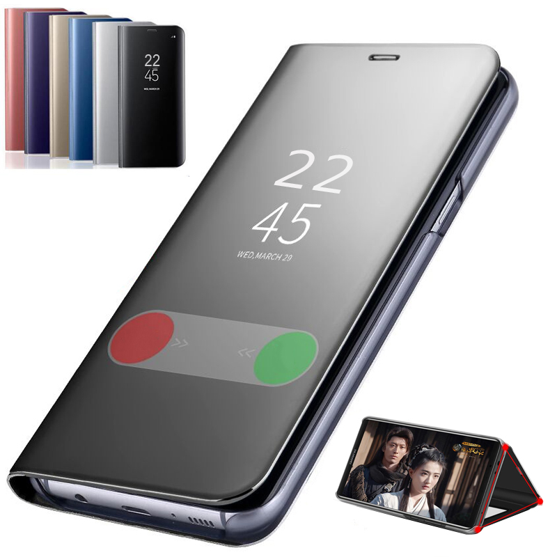 View Mirror Smart Flip Case For Samsung Galaxy S10 S8 S9 Plus S7 Edge Note 9 8 A8S A10 20 30 40 50 70 M10 M20 M30 J5 J6 <font><b>J8</b></font> Cover image