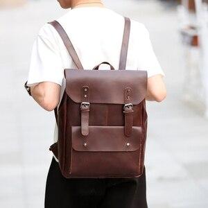 Image 5 - New Vintage Men Hasp Backpack England Style Fashion Retro Crazy Horse Leather Backpacks Mens Bag Mochila Male Bolsa Sac