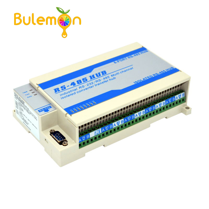 Lightning Protection Isolated Two Sizes 8 way Eight port RS485 Hub Repeater Sharing Device Splitter Module