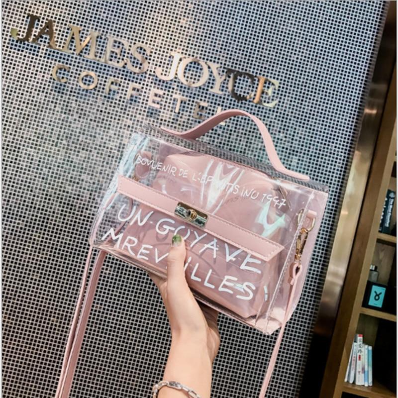 Fashion Transparent jelly Daughter Handbags Shoulder Bag girl Big Women High Quality Designer Ladies Purses
