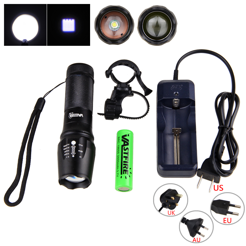 2000 Lumen Front Bike Head Light  XML T6 LED Flashlight Zoomable Torch Light 5 Modes Torch+18650 Battery+360 Rotating Mount uking xml t6 1000lm 5 mode zoomable camouflage flashlight torch