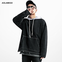 Aolamegs Mannen Denim Hoodies Fashion Vintage Hooded Denim Patchwork Jas Trui High Street Lange Mouw Hiphop Stellen Tops