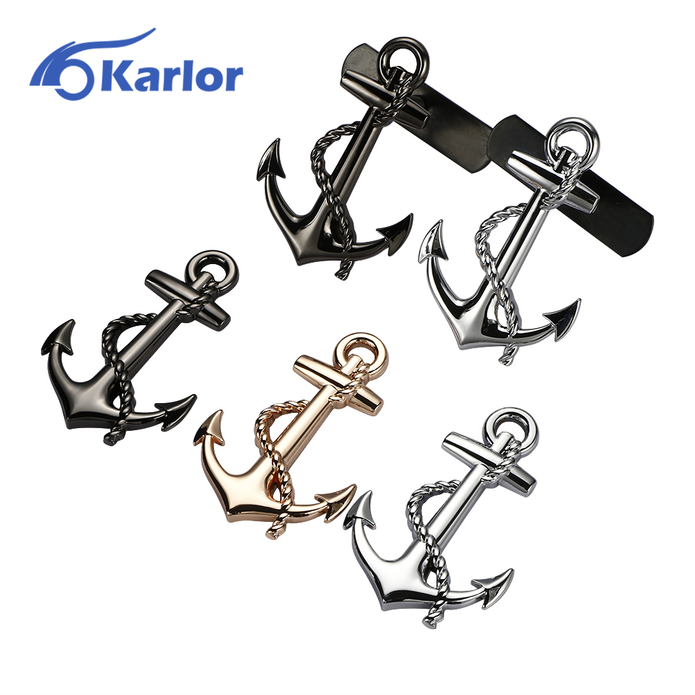 Anchor New Fashion Front Grille Emblem Badge Sticker 3D Metal Car Auto Motorcycle Logo Totem Automobiles Car Styling Accessories car styling metal car sticker accessories case for daewoo logo winstom espero nexia matiz lanos car styling automobiles
