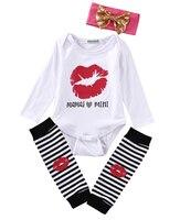 Pudcoco Newborn Baby Girls Cute Lips Bodysuit Jumpsuit + Stripe Leggings Pants 3Pcs Outfit Set