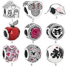 Authentic 925 Silver DIY Jewelry Sweet Home Snow White Apple Belle Mickey Minnie Kiss Charms fit Lady Bracelet Bangle(China)