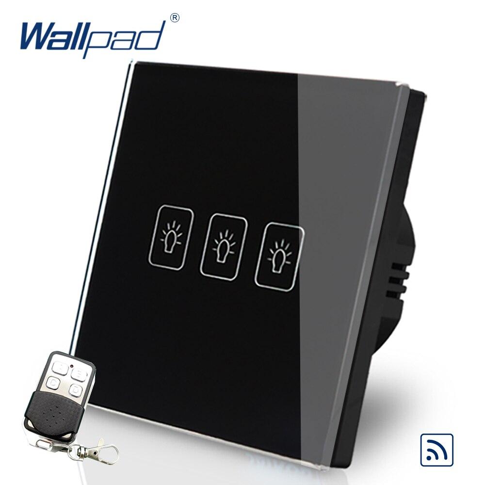Remote 3 Gang 2 Way 86*86mm EU UK European Wallpad Black Glass RF Broadlink Wifi Support 3 Gang Remote Switch 2 Way Control