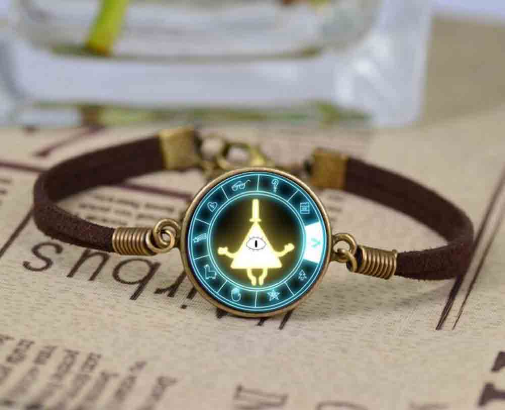Fashion Glass Gravity Falls mabel pig BILL Cabochon Infinity Love Leather Bracelet Girls Women Movie Accessories Jewelry Gift
