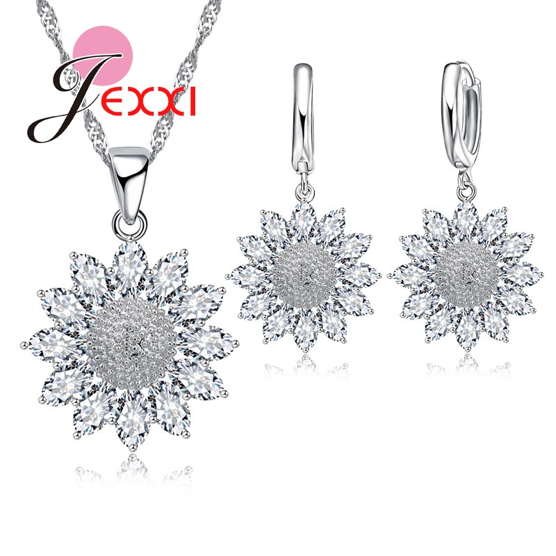 JEXXI Wedding Jewelry Sets For Brides Sunflower Earrings Necklace Set Snowflake Flower CZ Crystal Silver Fine Jewelry