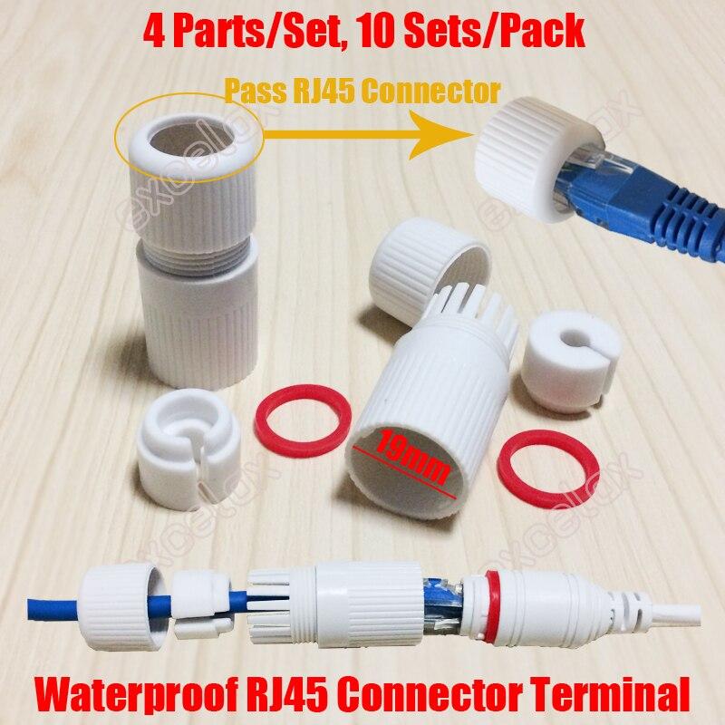 10 Teile/los Inneren 19mm Fertig Rj45 Modulare Wasserdichten Stecker Kappe Terminal Abdeckung Für Outdoor Netzwerk Ip Kamera Zopf Kabel
