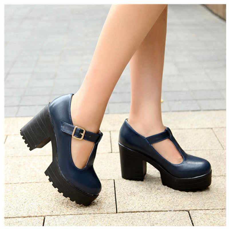 แฟชั่นผู้หญิงปั๊มรองเท้าผู้หญิงรองเท้าส้นสูงปั๊ม Close Toe BUCKLE สตรีปั๊มสูงส้นรองเท้า PLUS ขนาด 44 45 46